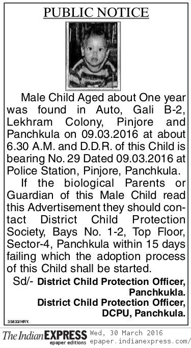 Public Notice, The Indian Express News March 30, 2016